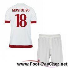 Nouveau Maillots Milan AC Rouge/Blanc Enfant MONTOLIVO 18 Exterieur 15 2016 2017 Pas Chere