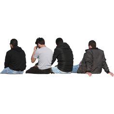 personas sentadas espaldas