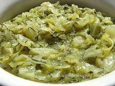 Młoda kapusta z koperkiem Food Cakes, Pasta Salad, Cake Recipes, Tasty, Meals, Vegetables, Cooking, Ethnic Recipes, Cakes