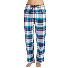 Women's Jockey Pajamas: Blue Plaid Flannel Long Pants, Size: Medium, Grey Other