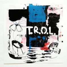 """""""T.R.O.L. and cock of love"""", one piece from the series """"black ink and other colors"""", ink and acrylic on paper, 25x25 cm, 2012, artist: Jens Stoewhase"""
