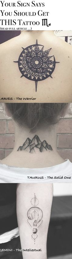 Tattoo Ideas for Women - Simple Small Sun Mandala Spine Tat Mountain Back of Neck Tatt Geometric Lightbulb Wrist Tattoo at MyBodiArt.com