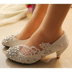 Sparkly White Lace Flat Wedge High Low Heel Bridal Wedding Shoes.