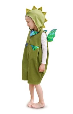 Faschingskostüm grüner Drache für Kinder / carnival kids costume for green dragon by ELEMENTS-design via DaWanda.com