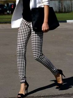 Tights | Hounds Tooth Print | Hounds Tooth Tights | Leggings | Black and White | Fashion Clothing | Style Fiesta
