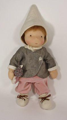 "16'' / 42 cm. tall - Handmade - One of a Kind - Waldorf Doll ""Bibi"" - Ready to Go"