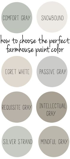"How to Choose the Perfect Farmhouse Paint Colors. How to choose the perfect farmhouse style paint color. Learn how to achieve that signature ""fixer upper"", rustic style in your home by choosing the perfect farmhouse style paint colors. Farmhouse Paint Colors, Farmhouse Decor, Country Farmhouse, Kitchen Country, Rustic Paint Colors, Farmhouse Color Pallet, Dinning Room Paint Colors, Neutral Living Room Paint, Hallway Paint Colors"