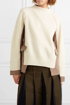Sacai - Knitted wool and checked tweed turtleneck sweater Blouse And Skirt, Blouse Dress, Diy Dress, Knitwear Fashion, Knit Fashion, Casual Wear, Casual Outfits, Elisa Cavaletti, Conceptual Fashion
