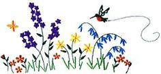 Flower Bed/Hummingbird (FL0400) Embroidery Design by Creative Design