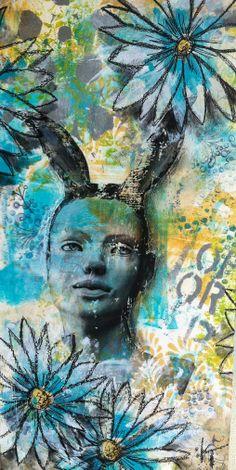 Mixed media painting, image transfer, Kelly Thiel Studio, acrylic on panel, portrait, hybrids, flowers