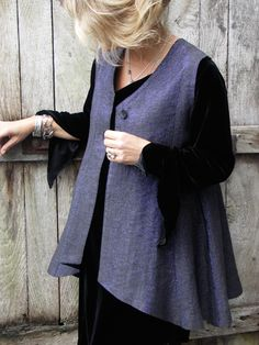 Godet Waistcoat in blue sparkle linen over Velvet Asymmetrical Top. Terry Macey and Angelika