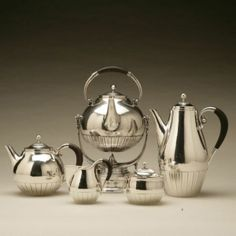 """Gallery 925 - Georg Jensen """"Cosmos"""" Coffee and Tea Service with Kettle, no. 45"""