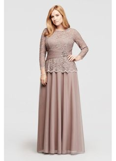Mother-of-the-Bride Dress? Glitter Lace Long Sleeve Dress 757727D