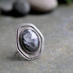 Silver Sapphire Ring Oxidised Sterling Silver by christinewalsh
