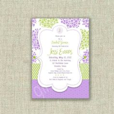 Liliac and green bridal shower invitation - http://themerrybride.org/2014/12/13/lilac-and-apple-green-wedding/