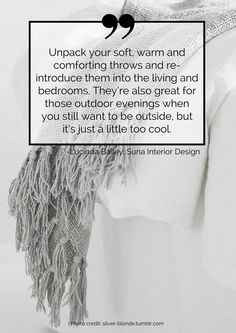 Unpack your soft, warm and comforting throws and re-introduce them into the living and bedrooms. They're also great for those outdoor evenings when you still want to be outside, but it's just a little too cool. Read more tips for transitioning your home from summer to autumn here: https://nyde.co.uk/blog/transition-home-summer-autumn/