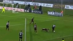 The name of the guy with the ball is Riccardo Orsolini, a 19-year-old who plays for Ascoli in Italy's Serie B, and is supposedly on his way to Juventus. The name of the guy falling over doesn't matter, because he has departed from this earth. He's dead. RIP.