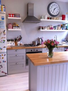 Open shelves on hob wall Grey kitchen....Farrow and Ball Pavilion Grey on units