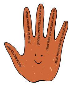 Getekende hand met in elke vinger feedback voor de leraar
