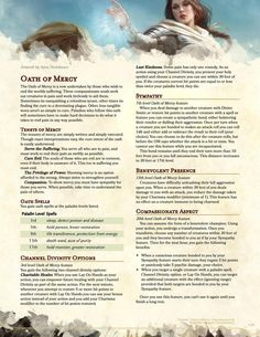 Post with 4785 views. Oath of Mercy Paladin - My fiancé's request for a seemingly benign support subclass (PDF and future updates in comments)