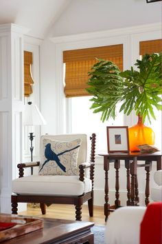 <3 Large leaves in vase by Gil Walsh Interiors