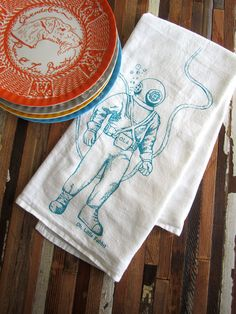 Screen Printed Organic Cotton Deep Sea Diver Flour Sack Tea Towel - Soft and Absorbent Kitchen Towel - Eco Friendly and Awesome - Nautical. $10.00, via Etsy.