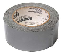 A roll of glossy, gray duct tape. Duct tape, or duck tape, is cloth or scrim backed pressure sensitive tape often sealed with polyethylene. It is very similar to gaffer tape but differs in that gaffer tape was designed to be cleanly removed,…