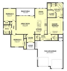 This beautiful Acadian house plan offers a wide open plan with huge ceilings and lots of space for entertaining.