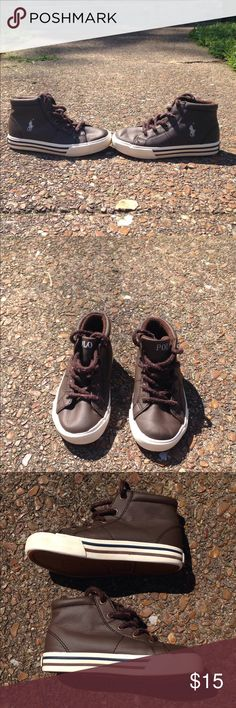 Ralph Lauren boys shoes 9 Brown and white Ralph Lauren shoes, size 9. They are in great condition, but could use a new pair of laces. Ralph Lauren Shoes Sneakers