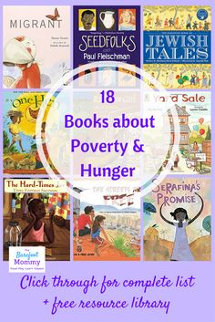 These 18 children's books are ideal for helping kids of all ages understand poverty and develop empathy for people in poverty. Click through for the full book list, plus additional activities that can help children understand the root causes of hunger and Poverty And Hunger, Character Education, Character Development, Library Books, Class Library, Elementary Library, We Are The World, Kids Reading, Reading Lists