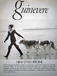 Peter Lindbergh, - Borzois Walking w Linda Evangelista- ' Vogue, UK' mag- Aug. 1988