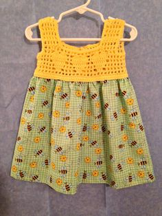 Bumblebee Crochet Blouse Summer dress mo size 18 – tops manualidades meninas The Effective Pictures We Offer You About crochet baby blanket. Crochet Dress Girl, Crochet Summer Dresses, Crochet Girls, Crochet For Kids, Puff Stitch Crochet, Crochet Yoke, Crochet Blouse, Easy Girls Dress, Crochet Toddler