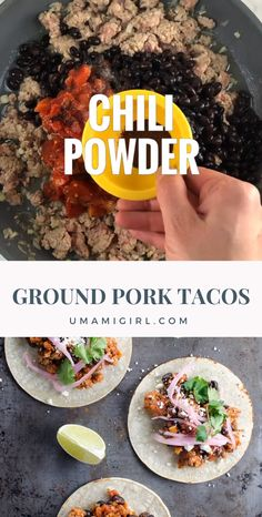Easy Ground Pork Tacos with Black Beans Looking for a flavorful pork tacos recipe that doesn't take all day? Look no further than these easy ground pork tacos with black beans, which taste like they simmered forever but come together in about 20 minutes. Ground Pork Recipes Easy, Healthy Pork Recipes, Pork Recipes For Dinner, Meat Recipes, Mexican Food Recipes, Cooking Recipes, Recipe Ground Pork, Spinach Recipes, Pork Recipe Video
