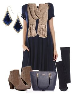 """""""Navy Blue T-Shirt Dress Outfit"""" by fabfortyfashion ❤ liked on Polyvore featuring Vince Camuto, Breckelle's, Coach, Madewell, Kendra Scott and tshirtdress"""
