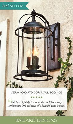 Our Best Selling Verano Outdoor Wall Lighting is modern flair with an added nautical style. Use this wall sconce as vintage style front door lighting, porch lighting, or anywhere the family gathers.  #OutdoorLighting #NauticalDecor #CoastalDecor