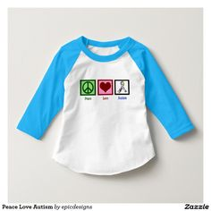 Peace Love Autism Raglan T-Shirt for your toddler or child with cute blue sleeves. A peace sign, heart, and the autism awareness puzzle piece ribbon.