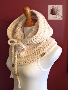Crochet Poncho Crochet Scarves Crochet Clothes Crochet Neck Warmer Crochet Winter Wooden Beads Cowl Neck Beanie Hats Needle And Thread Crochet Hood, Crochet Cardigan, Crochet Scarves, Crochet Shawl, Crochet Clothes, Crochet Baby, Knit Crochet, Knitting Scarves, Crochet Neck Warmer