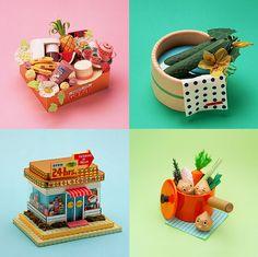 Paper toys by Makiko Azakami
