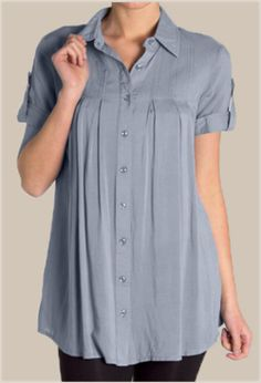 Gray Pleated Short-Sleeved Shirt - $31