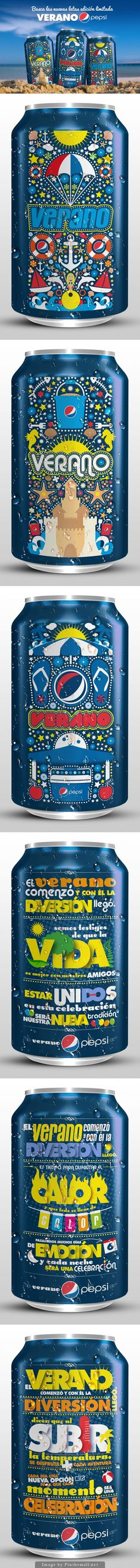 Verano Pepsi designs. Who's ready for a #Pepsi now #packaging curated by Packaging Diva PD created via https://www.behance.net/gallery/10506761/Latas-Verano-Pepsi-Pepsi-Summer-Cans