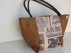newspaper print  handbagbrown shoulder bag by LIGONaccessories, $69.00