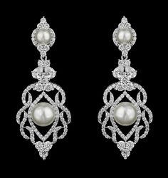 Elegant CZ and Pearl Wedding Earrings - just stunning! -Affordable Elegance…