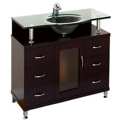 "Accara 36"" Bathroom Vanity with Drawers - Espresso w/ Clear or Frosted Glass Counter 