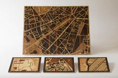 Woodcut Maps Laser Cut - Remember if you are laser  engraving woodcut plates the image should be flipped horizontally and negative. These are street maps simplified to graphic.