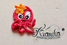 Aplikacja, naszywka szydełkowa - różowa ośmiornica z gwiazdką. Crochet amigurumi aplique pink octopus with star