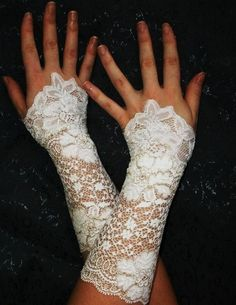 TE AMO white french lace bridal cuffs wedding by angelinadesign. , via Etsy.