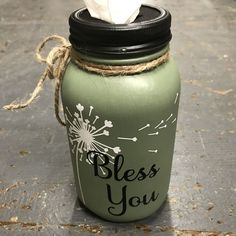 Mason Jar Tissue Holder Bless You Dandelion #christmasdiy