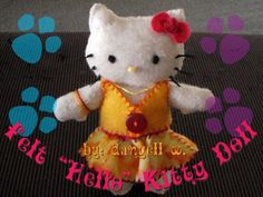 """Felt """"hello"""" Kitty Doll  •  Free tutorial with pictures on how to make a cat plushie in under 180 minutes"""