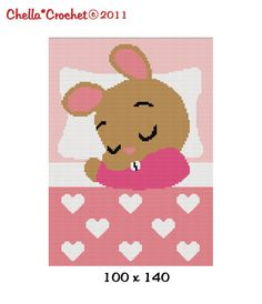 INSTANT DOWNLOAD Sleeping Bunny Rabbit for Girl With Hearts Pinks Chella Crochet Afghan Pattern Graph 100 st Crochet Afghans, C2c Crochet, Manta Crochet, Single Crochet Stitch, Afghan Crochet Patterns, Baby Blanket Crochet, Crochet Stitches, Crochet Baby, Cross Stitch Patterns