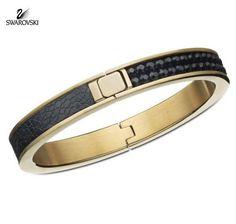 Swarovski Jet Black Crystal Bracelet Bangle INTERVALLE Gold plated #1160586